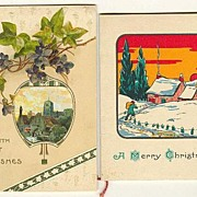 2 vintage Xmas Greeting Cards