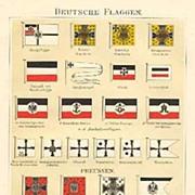 1902: German Nautical Flags: 3 Chromo Lithograph