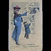 Vintage Postcard Merry Xmas: Tinted Art Nouveau Postcard 1904