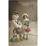 Happy New Year: Vintage Postcard 1913: Snowman, Girl, Symbols of Luck