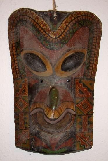 Old Mask: 7 x 11 x 4. Wood, Varnish