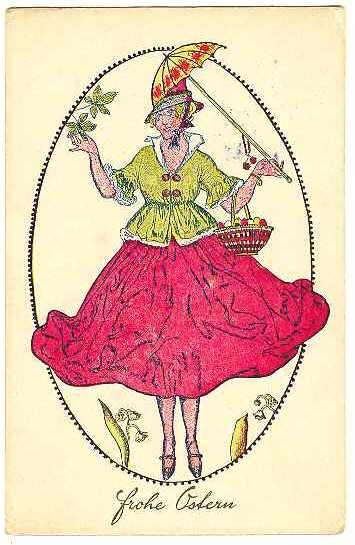1909: Happy Easter. Art Nouveau Postcard Vienna