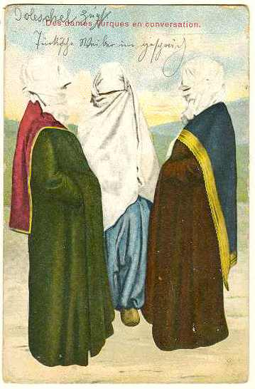 Turkish Ladies, chatting. Vintage Postcard. 1912