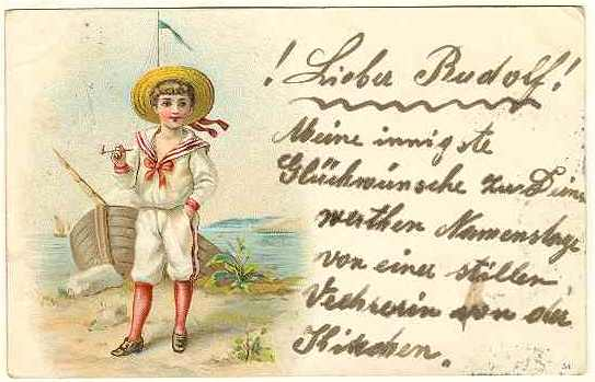 1900: Chromo Litho Postcard of Boy in Sailor's Suite