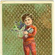 1912:  Happy Saint's Day. Embossed Vintage Postcard