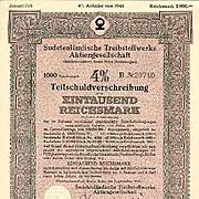 Germany WWII: 2 Sudetenland Bonds 1000 + 5000 Reichsmark