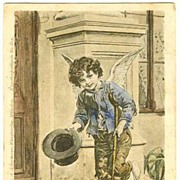Little Beggar Boy as Angel: Vintage Postcard from 1902