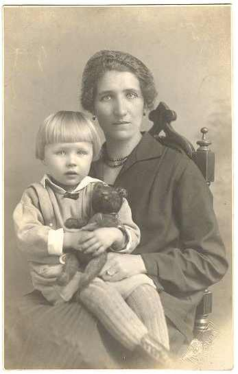 Girl with Teddy Bear and Mother: Vintage Photo from 1910s
