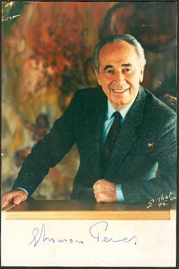 Shimon Peres Autograph. Authentic Signature on Photo. CoA