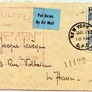 """1929: Catapult Flight """"Bremen"""". New York - Le Havre / France"""