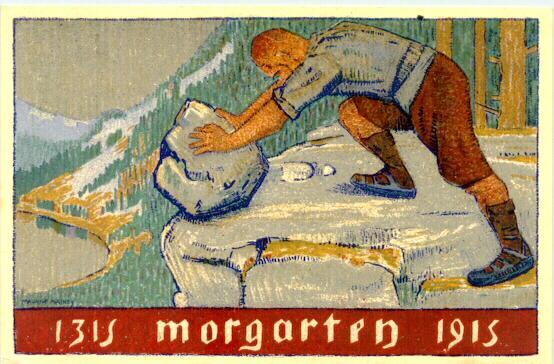 1915: Swiss Art Deco Card: Morgarten. Artist signed Maurice Mathey