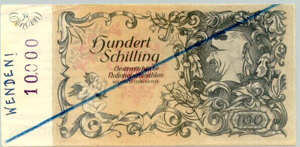 Unusual Austrian banknote for propaganda purpose: 100 Schilling