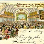 Crystal Palace in Leipzig: Old lithographd card / postal history