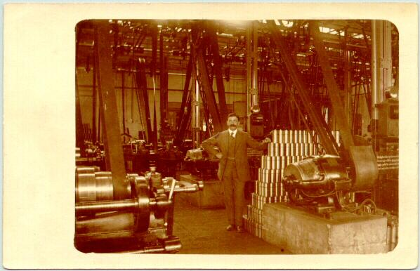 Old photo from a factory with huge engines