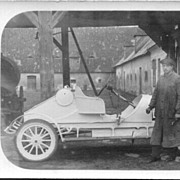 Original photo of an Old-timer Limousine mechanic standing in front