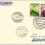 "1937: Austria:  ""Day of National Mourning"" - Air mail Postcard"