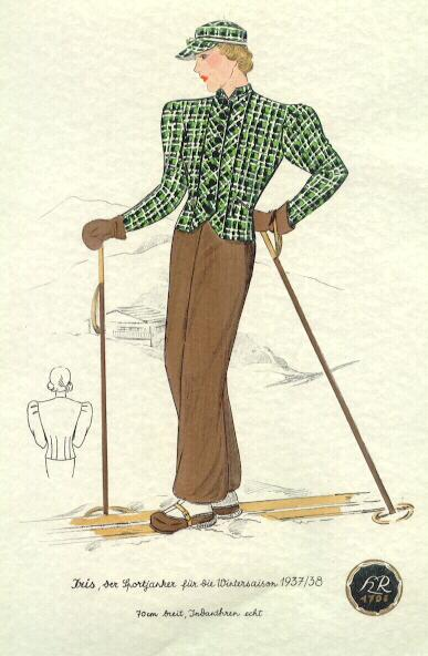 1937: Tinted Design for Skiing Outfit.