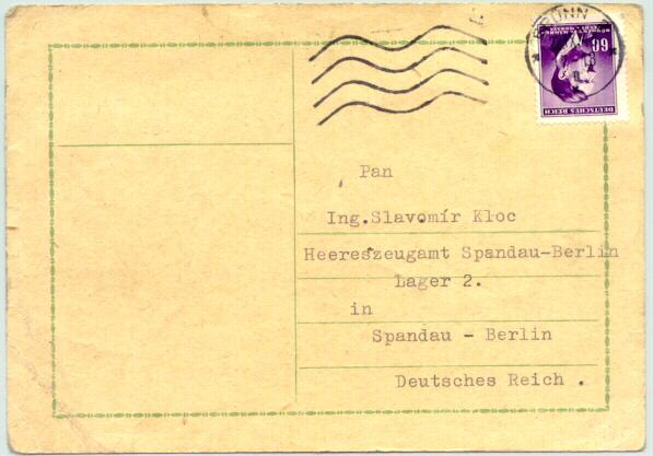1943: Card sent from Bruenn to Lager 2 in Spandau / Berlin.