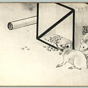 Decorative Vintage Postcard from Japan with 2 Mice