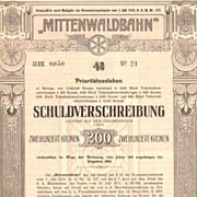 Austrian Railroad Bond attractive Nice Art Nouveau design