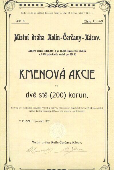 1907, Czechoslovakina Railway Share - Art Nouveau Design