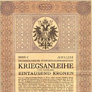 Art Nouveau Bond 2nd Austrian War Bond World War I