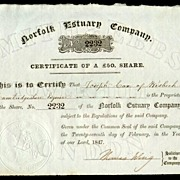 1847: Norfolk Estuary Company. Antique Share