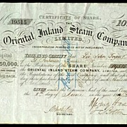 1865: The Oriental Inland Steam Company. Antique Stock Certificate.