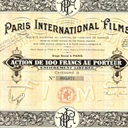 Paris International Films. Decorative share - Art Deco.