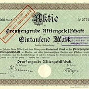 Germany: Preussengrube AG. 1000 Mark changed to 400 RM