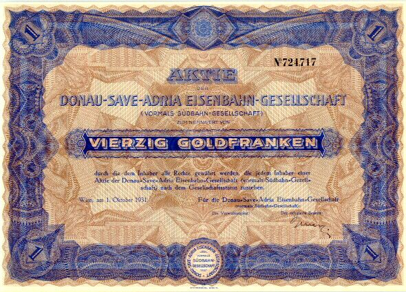 Austrian Railroad Certificate. Decorative share from 1931