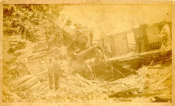1895: Old Albumen Photo of train accident