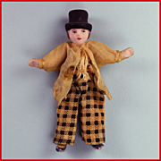"3"" All Bisque Boy Antique German Dollhouse Doll with Molded Hat 1920s"
