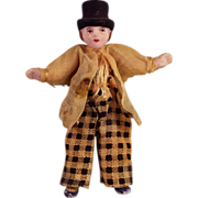 """3"""" All Bisque Boy Antique German Dollhouse Doll with Molded Hat 1920s"""