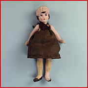 "3"" All Bisque Antique Dollhouse Maid Doll with Molded Hat 1920s"