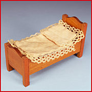 "Schneegas Antique Dollhouse Miniature Bed – Golden Oak Finish – Late 1800s 1/2"" Scale"