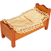 "Schneegas Antique Dollhouse Miniature Bed – Golden Oak Finish – Late 1800s 1/2"" Scale"