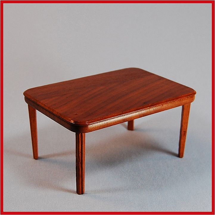 "Strombecker Dollhouse Dining Room Table - Walnut 1953 1"" Scale"