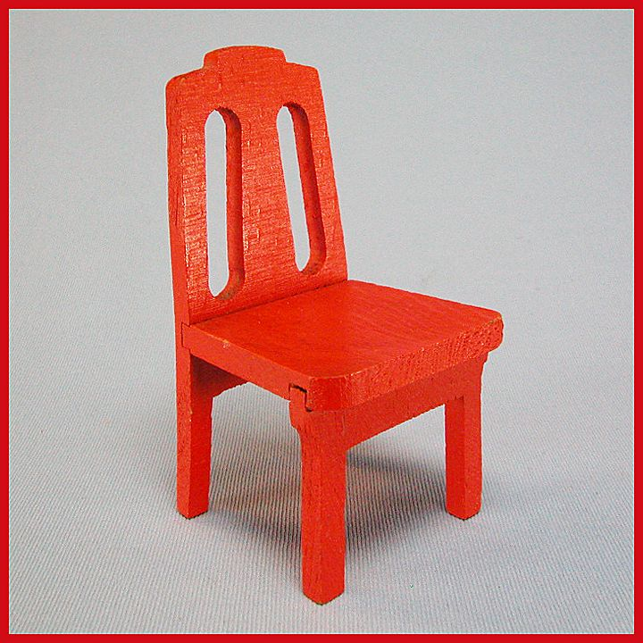 "Strombecker Dollhouse Kitchen Chair - Orange 1938 1"" Scale"