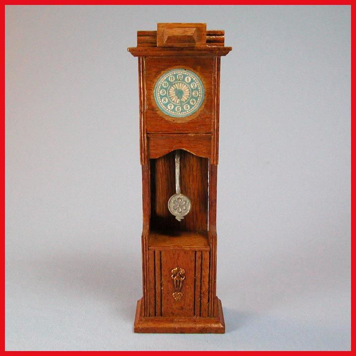 "Antique German Dollhouse Oak Grandfather Clock 1910 Large 1"" Scale"