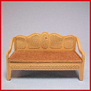 "Tootsie Toy Dollhouse Cane Style Sofa – Tan 1930s 1/2"" Scale - Red Tag Sale Item"