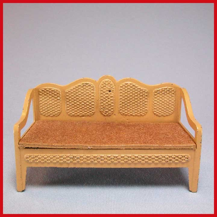 """Tootsie Toy Dollhouse Cane Style Sofa – Tan 1930s 1/2"""" Scale"""
