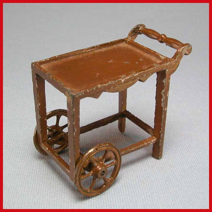 "Tootsie Toy Dollhouse Tea Cart – Brown 1920s 1/2"" Scale"