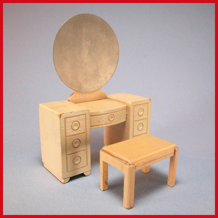 "Strombecker Dollhouse Vanity & Bench - Blonde Maple 1953 1"" Scale"