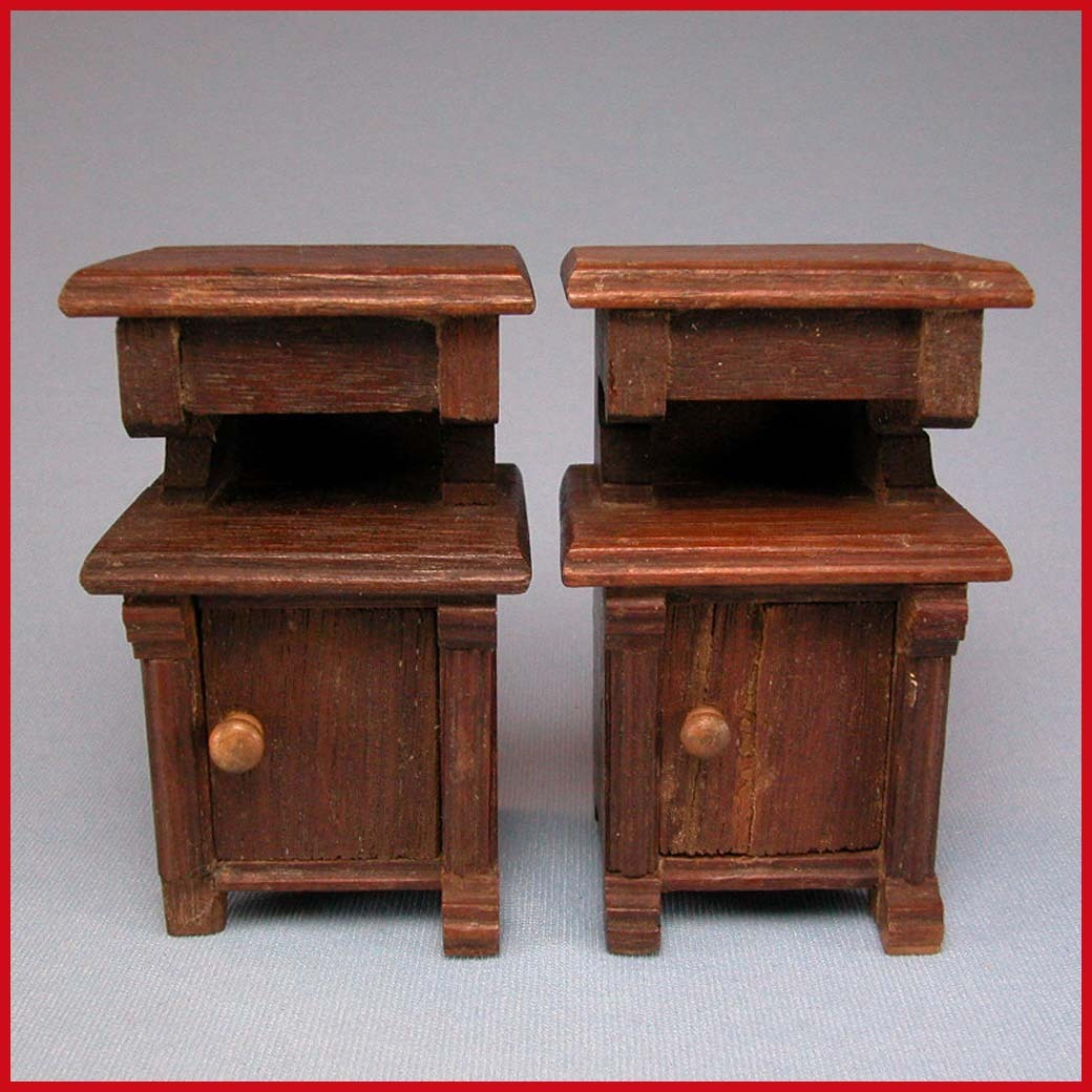 "Pair of Antique German Walnut Nightstands 1900s 1"" Scale"