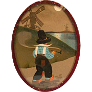 "Smoking Dutch Boy with Windmills German Dollhouse Lithographed Picture in Oval Frame 1920s – 1930s Large 1"" Scale"