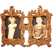 "Antique Gilt Metal Double Easel Frames with Photos of Children Late Victorian 1"" Scale"