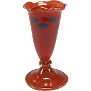 "Antique Dollhouse Miniature Hand Blown German Red Glass Footed Vase with Blue Decoration Early 1900s 1"" Scale"