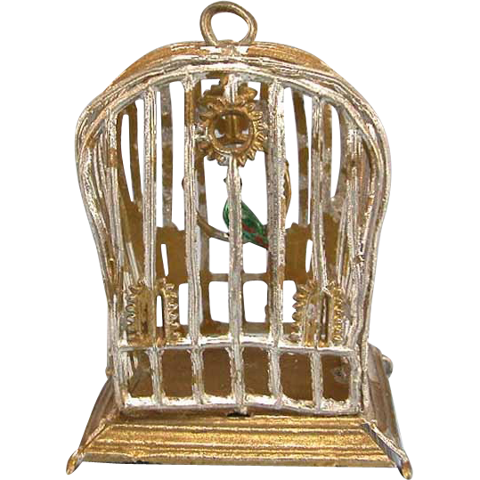 "German Gilt Soft Metal Dollhouse Birdcage Early 1910 – 1930s Large 1"" Scale"
