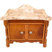 """Antique German Dollhouse Schneegas Marble Top Washstand Late Victorian Large 1"""" Scale"""